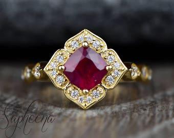 Red Ruby Vintage Floral Cushion Cut Engagement Ring in 14k Yellow Gold, 6x6mm Cushion, Gemstone Wedding Ring, July Birthstone by Sapheena