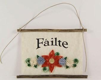Failte, Scottish Irish Welcome, Paper Quilled Welcome Sign, 3D Quilled Banner, Orange Blue Cream Decor, Scotland Gift, Rustic Irish Decor