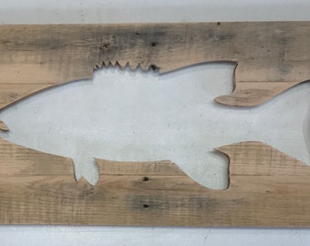 Large, Rustic Smallmouth Bass Cutout from reclaimed wood, home decor silhouette