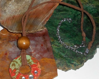 Mid Century Artisan Necklace / Donut Pendant / Suede Chain - item C07