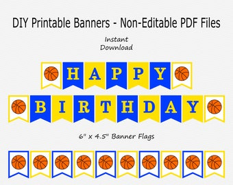 Happy Birthday Banner - Royal Blue & Mustard Yellow - Basketball Party - PRINTABLE - INSTANT DOWNLOAD