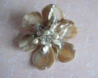 Vintage Mother of Pearl Brooch, Pearl Flower Brooch, Shell Brooch, Shell Flower Brooch, Large Mother of Pearl Brooch, Large Flower Brooch