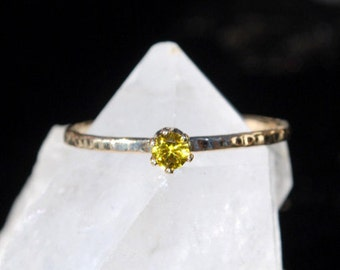 Topaz Ring - November Birthstone - Gemstone Ring - Durable Hammered Gold Ring - Dainty Ring - Stacking Ring - Mothers Ring - Faceted