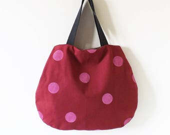 Bordeaux bag with pink polka dots hand painted