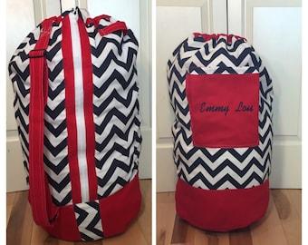 Monogrammed Laundry Duffel Bag, Red, Navy & White Chevron, Laundry Bag, Laundry Bag for College, Hanging Laundry Bag, Laundry Hamper