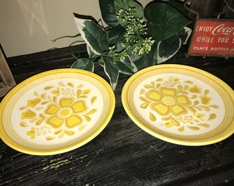 """Vintage Royal China Ironstone """"Damsel"""" Yellow Bread & Butter Plate  / Yellow Flower/ 1960's"""