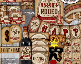 Cowboy Party | Cowboy Party Decorations | Cowboy Birthday Party | Rodeo Party Decor | Country Western Party | Set Kit Collection | Printable