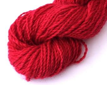 Handspun hand-dyed British Wensleydale wool knitting yarn aran skein - bright red