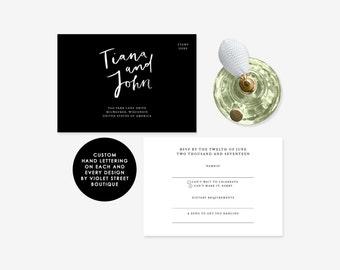 Black Wedding RSVP, RSVP Postcard Black and White Modern Invitation, Minimalist Invitation, Gifts Card Wedding, Invitation Suite, Printable