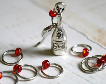 SALE!! Vino Please / Stitch Markers for the Wine Connoisseur/ Small Medium Large Sizes Available