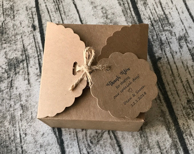 Featured listing image: 50pcs Kraft Favour Boxes with Personalised Thank You Tags • Wedding Favor Boxes • Birthday Gift Boxes • Baby Shower Favor Boxes • Any Text