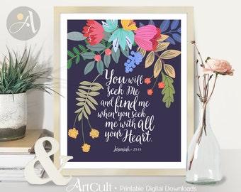 Printable Wall Art instant digital download Bible Verse inspirational quote scripture artwork, Jeremiah 29:13, Home decor, ArtCult designs