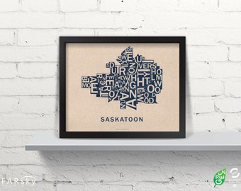 Far Sky Saskatoon Typographic Map
