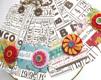 Wrap Around Label Felt Buttons Bingo Card Gift Tags, Pretty Packaging, Kraft, Primitive, Grunge Tags, Spring Colors