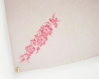 "Vintage 50's 100% Cotton Handkerchief Light Pink w/ Pink Floral Embroidery Design Made in Switzerland 15"" x 15"""