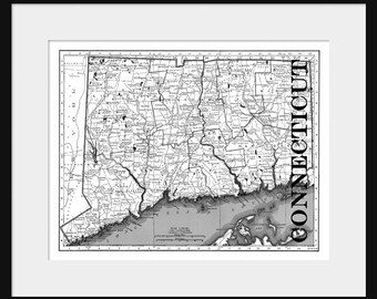 Connecticut Map - Map of Connecticut - Poster - Print