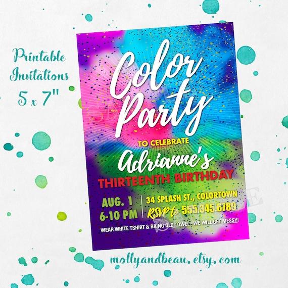 Color Party Invitation Color Birthday Party Printable