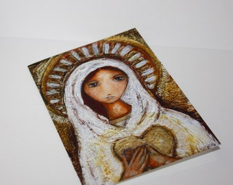 Blessed Mother - Greeting Card 5 x 7 inches - Folk Art By FLOR LARIOS