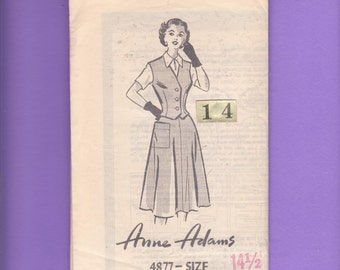 Rare 1940s Blouse, Vest, full Skirt Sewing Pattern/ Anne Adams 4877 fitted Vest Uncut Mail Order Unmarked/ Half Size 12 14 1/2 Bust 34