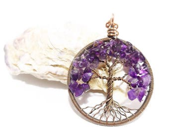 Amethyst Necklace Tree Of Life Pendant Pisces Necklace February Birthstone Amulet 6th Anniversary Gift Virgo Sagittarius Capricorn Aquarius