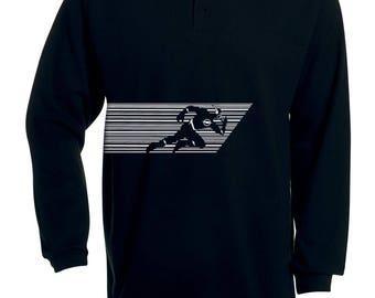 Black Polo Flash long sleeve knit thick Mister Blackwhite (mister Speed)