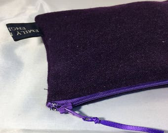 Plum Wool Blend Wallet Purse with Purple Zip 6x3.5 inch Ready to Ship Girls Women Gift