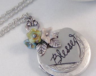 Blessed Heart Locket,Heart Locket,Heart Necklace,Flower Necklace,Blue Necklace,Mothers Necklace,Mothers Locket,blue flower valleygirldesigns