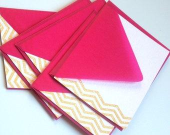 GOLD CHEVRON CARDS - lightest pink flat cards with metallic gold chevron pattern and dark magenta velum envelopes - set of four