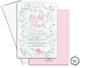 Watercolor bridal shower invitation lovebirds, bridal shower invites printable or printed, pink mint flower floral - WLP00652