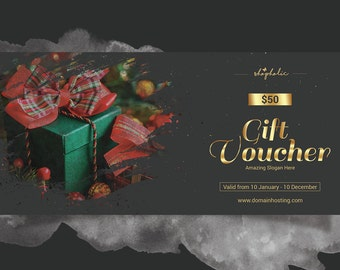 Christmas Gift Voucher   Holiday gift voucher template   Multipurpose Voucher    Photoshop & Elements Template   Instant download