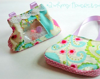 SALE whimsey flowers and swirls l Spy bag