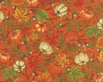 Clearance FABRIC WELCOME FALL Pumpkins Leaves and Acorns  by Moda   We combine shipping