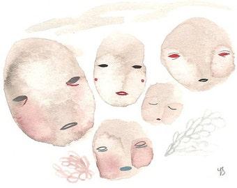 Moon painting print, many moons art, moon face