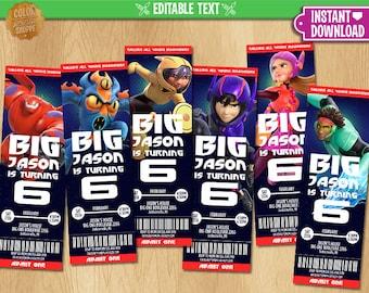 Big Hero 6 Ticket Invitation
