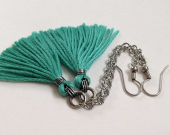 Turquoise Mini Tassel Earrings