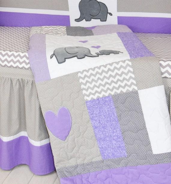 crib blanket elephant baby boy bedding gray purple quilt. Black Bedroom Furniture Sets. Home Design Ideas