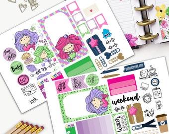 Mermaids have more fun Theme Planner Weekly Sticker SMALL Kit, BIG Happy Planner Sticker, Weekly Set, Stickers, Printed, Cut, Ocean, Siren
