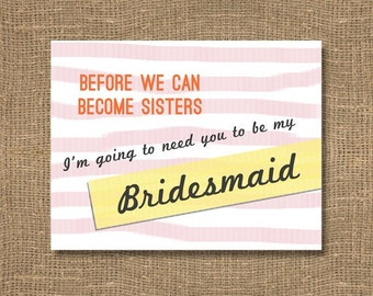 Sister Will You Be My Maid of Honor / Ask a Maid of Honor / Matron of Honor Invitation / Matron of the Bride / Pink Maid of Honor Invitation