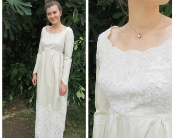 50s 60s empire waist Satin and Lace Wedding Dress ivory column simple gown long sleeves fitted bodice XS small bridal