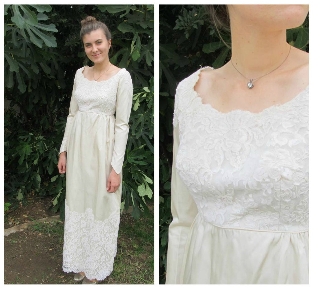50s 60s empire waist satin and lace wedding dress ivory column zoom ombrellifo Images