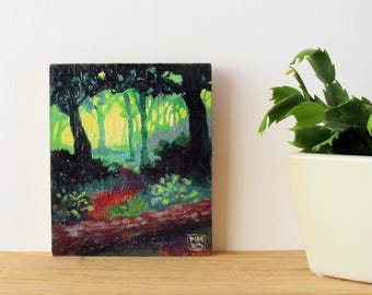 custom painting, original oil landscape, abstract painting, dark green forest, red, mauve, impressionist, square woodblock