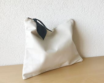 Tealine Large Leather Clutch in White Italian Leather. Large Leather Pouch. Ipad Leather Pouch. Documents Leather Pouch. Big Leather Bag.