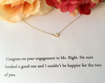 Gold Fish Hook Necklace. Engagement Gift.