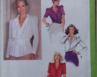 UNCUT Simplicity 9256 Misses Blouse & Tie Belt