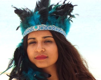 Turquoise Feather headband  , Bohemian headband , Feather accessories , Gypsy headband , Native america headband, Festival headband