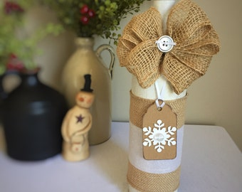 Snowflake Winter Decor/Christmas Decor/White Christmas/Winter Party Decoration/Snow/Frozen/Bar Decoration/Wine Bottle/Recycled Bottle