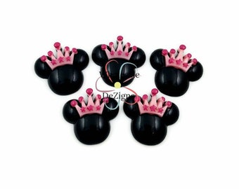 "Minnie Mouse Inspired Resins - Cabochons Princess Flat Back Acrylic Embellishment 1"" x 1.25"" Mickey Mouse - Black Face Pink & Hot Pink Crown"