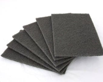 Satin Finish Buff Polishing Pads 6x9 Inch Gray Ultra Fine Package Of 6
