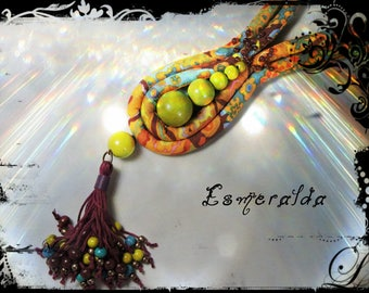 ESMERALDA - fabric necklace predominantly yellow, Brown and orange - metal beads and wood in assorted colors