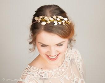 Romantic Bridal Hairband, Greek Wedding, Gold Leave Tiara, boho hair style,  Laurel Leaf Tiara, Woodland Crown, Hair Pieces for Wedding,